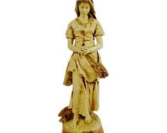 Vintage E. Peynot L'Angelus Statue by Alexander Backer Co. Chalkware w/ Pedestal