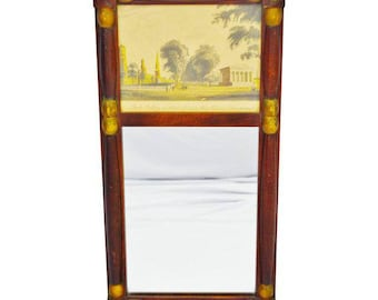 Yale College and State House Split Column Wall Mirror with Print