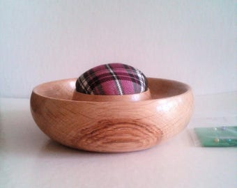 English Oak Tartan Pin Cushion E108