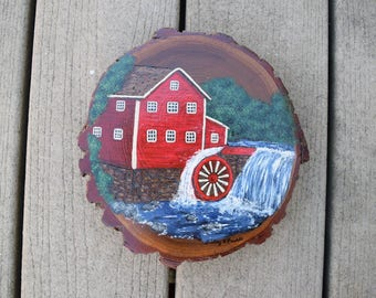 Watermill on wood