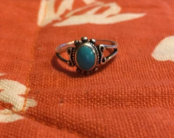 Vintage 90s serling turqoise ring size 6