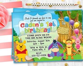 Winnie the Pooh invitation Birthday card Printable digital card invite