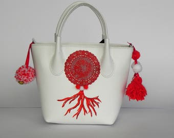 White leather bag, red coral, hand painted, leather bag with shoulder strap