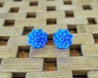 Blue Dahlia Flower Stud Earrings