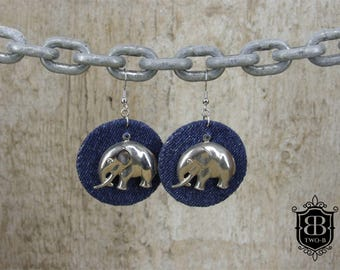 Earrings earrings made of Denim Jeans with elephant