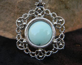 Turquoise Pendant Necklace in a vintage Silver-Plated Setting with Chain