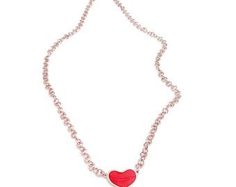 silver necklace, hearth necklace,