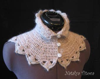 Hand knit collar Grey little cape Wool soft capelet Woolly cape Cosy soft capelet Soft warm collar Hand knit collar Wool fluffy capelet
