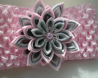 Pink headband , baby headband ,  Infant headband Crochet headband with Kanzashi flower