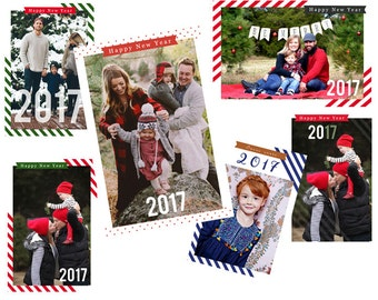 INSTANT DOWNLOAD - happy new year template photo carte photoshop