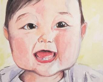 Watercolor Baby Portraits