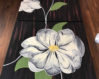 Painting on canvas flowers