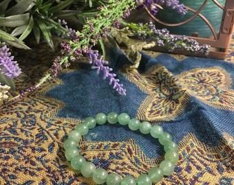 Jade beaded elastic bracelet