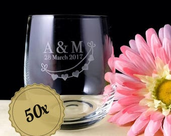 50x Personalised Engraved  Medium Crystal Stemless Wine Glass Wedding Favours Bomboniere (11 Oz / 315 ml)
