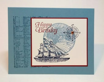 Birthday Card, Handmade Card, Nautical Card, Stampin Up Card, Greeting Card, Masculine Card, Card For Him