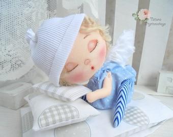 Little sleeping doll, Art doll, fabric doll, Soft doll, rag doll, textile doll, interior doll, doll, cloth doll, home decor, little angel