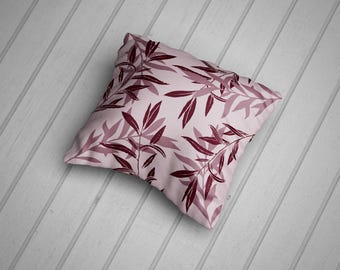 Luscious leaves Cushion, Maroon & Pink. Hand Made in the UK. 100% Cotton Cushion, 45cm.