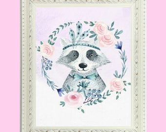 Woodland Raccoon Watercolor Girls Nursery Art Print//Baby Shower Gift//Printable Art