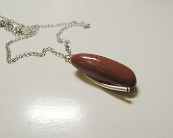 Handmade chain necklace with stone.