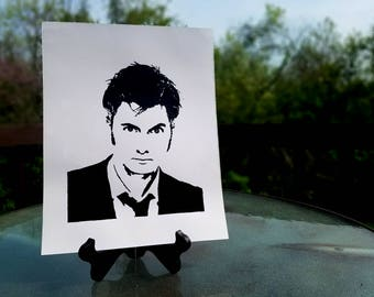 Allons-y! David Tennant - Tenth Doctor -  Handpainted! - Black & White