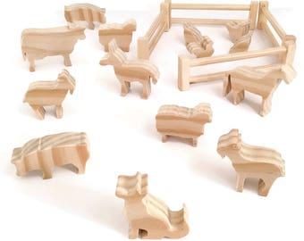 Farm animal wooden toy set - unpainted eco friendly toys - waldorf figures