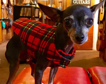 Extra Small Size, Quilted, Adjustable Flannel Dog Coat in Red, Black and Yellow Plaid