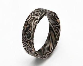Custom Mokume Gane Ring 14k rose gold, 14w Palladium gold and sterling silver - woodgrain pattern