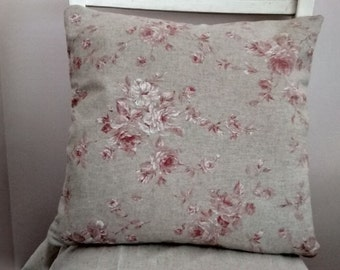 Handmade cushion Cover French Linen Look Faded Pink Roses Shabby chic.