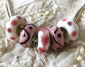 Murano Glass Beads, 5 Lampwork Beads Set, Large Hole Beads, Euro Charm Bracelet Beads, Pink Glass Beads