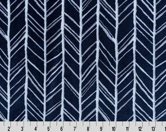 Shannon Herringbone Minky Fabric, Navy and Gray Herringbone Fabric, Minky Fabric by the Yard, Home Decor Minky Fabric
