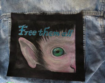 "Backpatch Backpatch ""free them all"" 18 x 22 hand-painted"