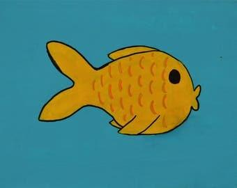 Personalised Yellow Fish Child's Painting