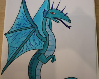 Blue Dragon made with alcohol markers
