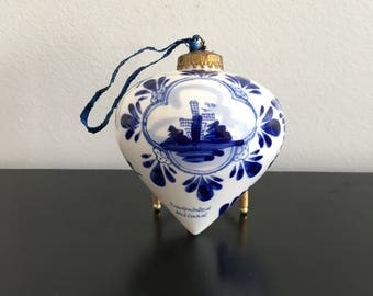 Vintage Delft Blue Ceramic Christmas Ornament, Bauble,Dutch Pottery, Blue and White,Collectible ,Holland, Decoration, Hand Painted, WindMill