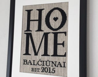 Cross stitch completed housewarming gift framed