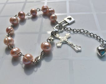 Pink Freshwater Pearl Heart Lock Rosary (adjustable)