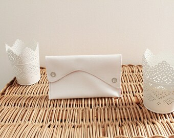 Faux White leather clutch