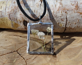 Pressed Baby's Breath Flower Pendant Necklace