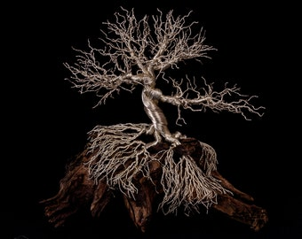 Large Silver Deciduous Wire Tree Sculpture