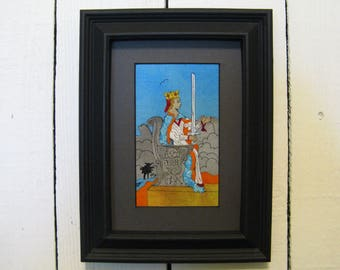Queen of Swords, Fabric Tarot Card Art, 3x5 inch, matted, unframed, mixed media, made to order