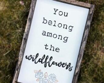 Wildflowers Rustic Wood Nursery Sign