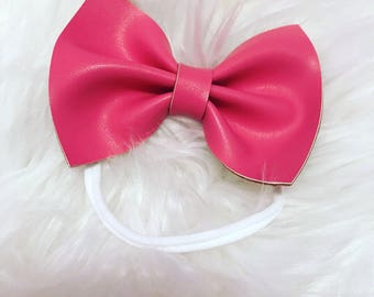 Bubble Gum Pink hair Bow// hair accessory// headband//hairclip//handmade//baby accessory
