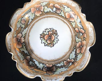 Hand painted porcelain Nippon fluted dish