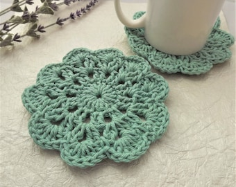 Crochet Coasters, Set of 4, Drink Coasters, Coffee Coasters, Kitchen Coasters, Home and Kitchen Decor, Wool and Twine Co