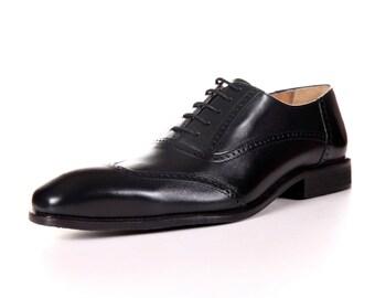 Men's Genuine Leather Black Cap Toe Oxford Shoes by ENAAF