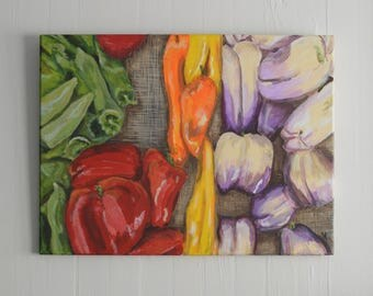 """Original Acrylic Painting  18x24 Vegetables Kitchen Art by NJ artist Linda Robinson """"Farmstand Peppers"""""""