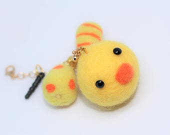 Super Cute Needle Felted little chick and eggs Phone Strap charm, Handmade Cell Phone Dust Plug, Zipper Pull, Bag Bling, Easter Gift idea.