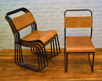 SOLD 150 available ply stacking vintage chairs antique industrial restaurant retro seating cafe wooden