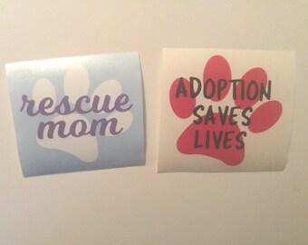 Animal Rescue Dog Adoption 2 Color Vinyl Decal   Window   Yeti   Tumbler   Bottle   Laptop