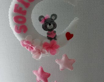 Baby mobile Felt Moon Pink With Name Gift